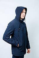 Куртка парка ветровка Мужская деми весеннее- осенняя с капюшоном короткая