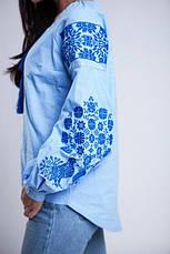 Вишиванка жіноча Голуби (синя вишивка), фото 2