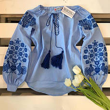 Вишиванка жіноча Голуби (синя вишивка), фото 3