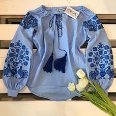 Вышиванка женская Голуби (синяя вышивка), фото 3