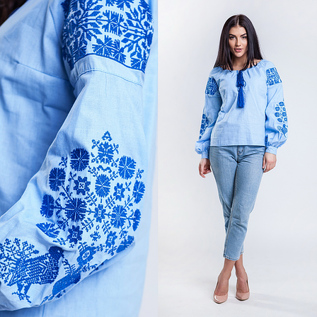 Вышиванка женская Голуби (синяя вышивка)  продажа 0ef08d7f5b5b3
