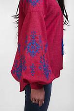 Вышиванка женская с длинным рукавом Звезда (малиновая), фото 3