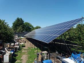 поле солнечных панелей Perlight solar 260P poly 5ВВ завершение монтажа