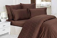 Бамбуковое постельное белье полуторное 160х220 Mariposa de luxe Tencel жаккард Ottoman Coffee v7