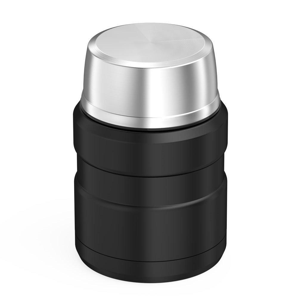 Термос пищевой SUNROZ Stainless King со складной ложкой 350 мл Черный (SUN1105)