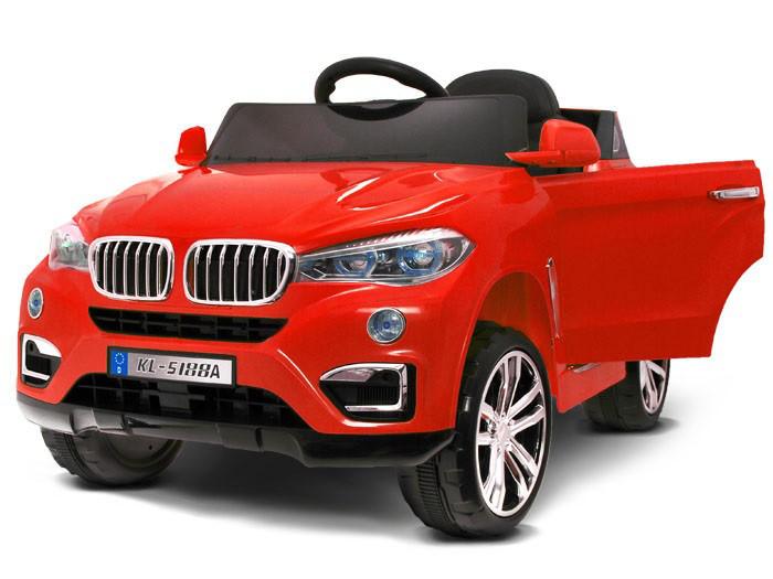 Детский электромобиль BMW X6 красный + резиновые EVA колеса + 2 мотора по 35 Ватт