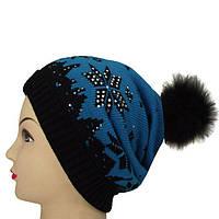Вязанная двухслойная шапка с натуральным меховым помпоном и стразами 12g4  бирюзовый 2a990e3967ae1