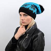 Вязанная двухслойная шапка с натуральным меховым помпоном и стразами 12g4  голубой 0c208d087e5e2
