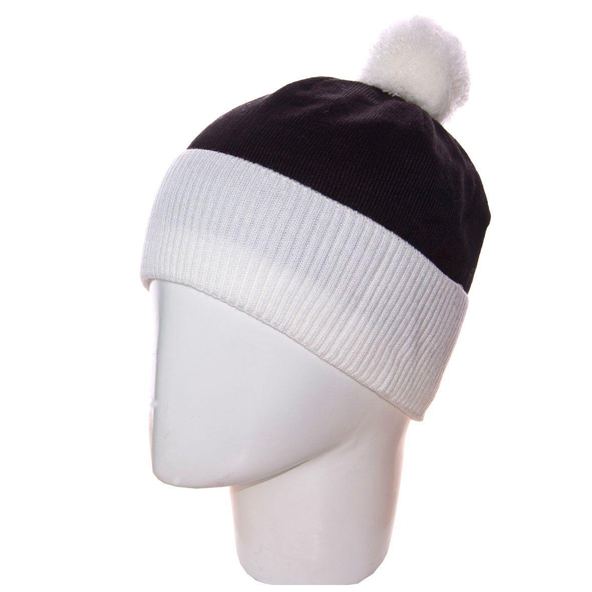 мужская вязаная шапка с ниточным помпоном на флисе 13117 белый