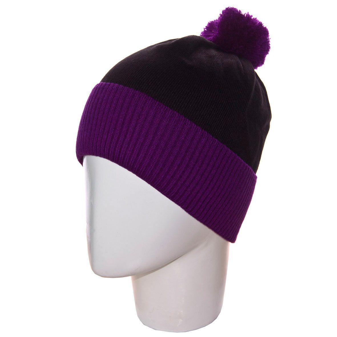 мужская вязаная шапка с ниточным помпоном на флисе 13117 фиолетовый