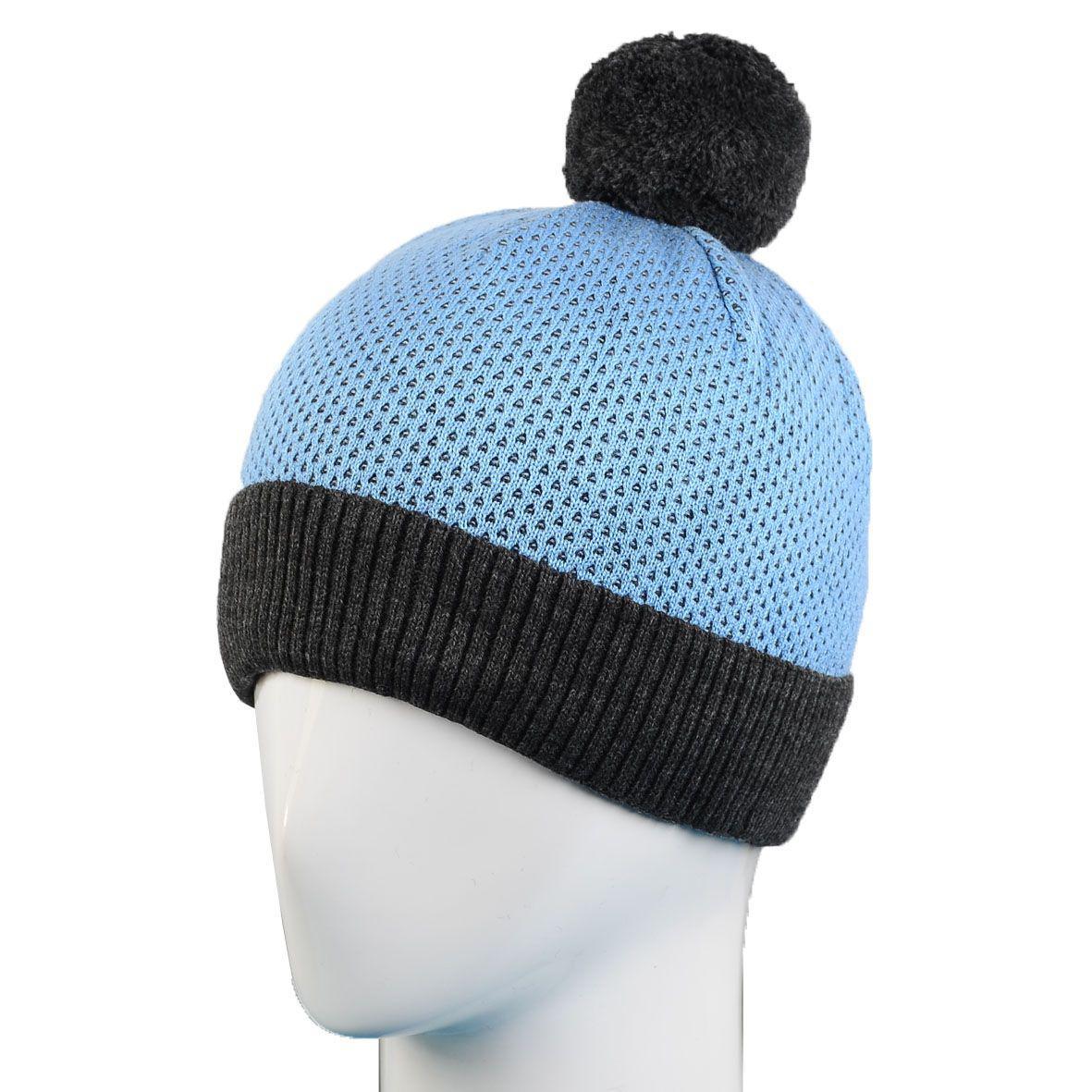 мужская вязаная шапка с ниточным помпоном на флисе 13118 темно серый