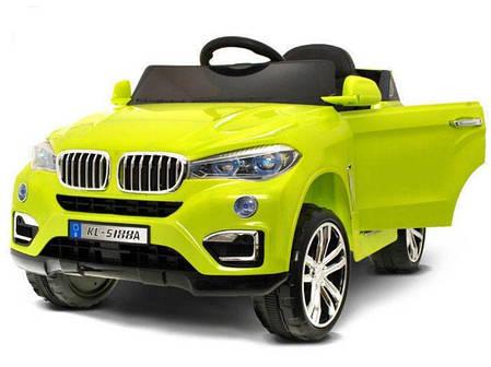 Детский электромобиль BMW X6 салатовый + резиновые EVA колеса + 2 мотора по 35 Ватт, фото 2