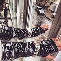 Черные перчатки-митенки из экокожи 401920r