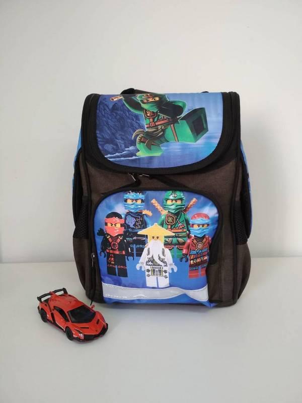 Серый каркасный рюкзак для мальчика с ниндзяго