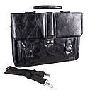 Мужской портфель из искусственной кожи 302988 черный, фото 4