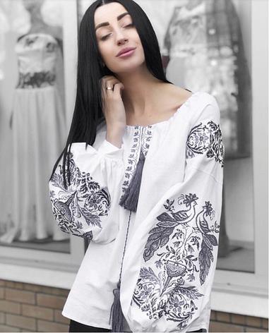 Жіноча вишита блузка Жар Птиця (біла з сірою вишивкою), фото 2