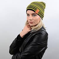 Стильная молодёжная двухсторонняя шапка-чулок, унисекс DV14003 желтый