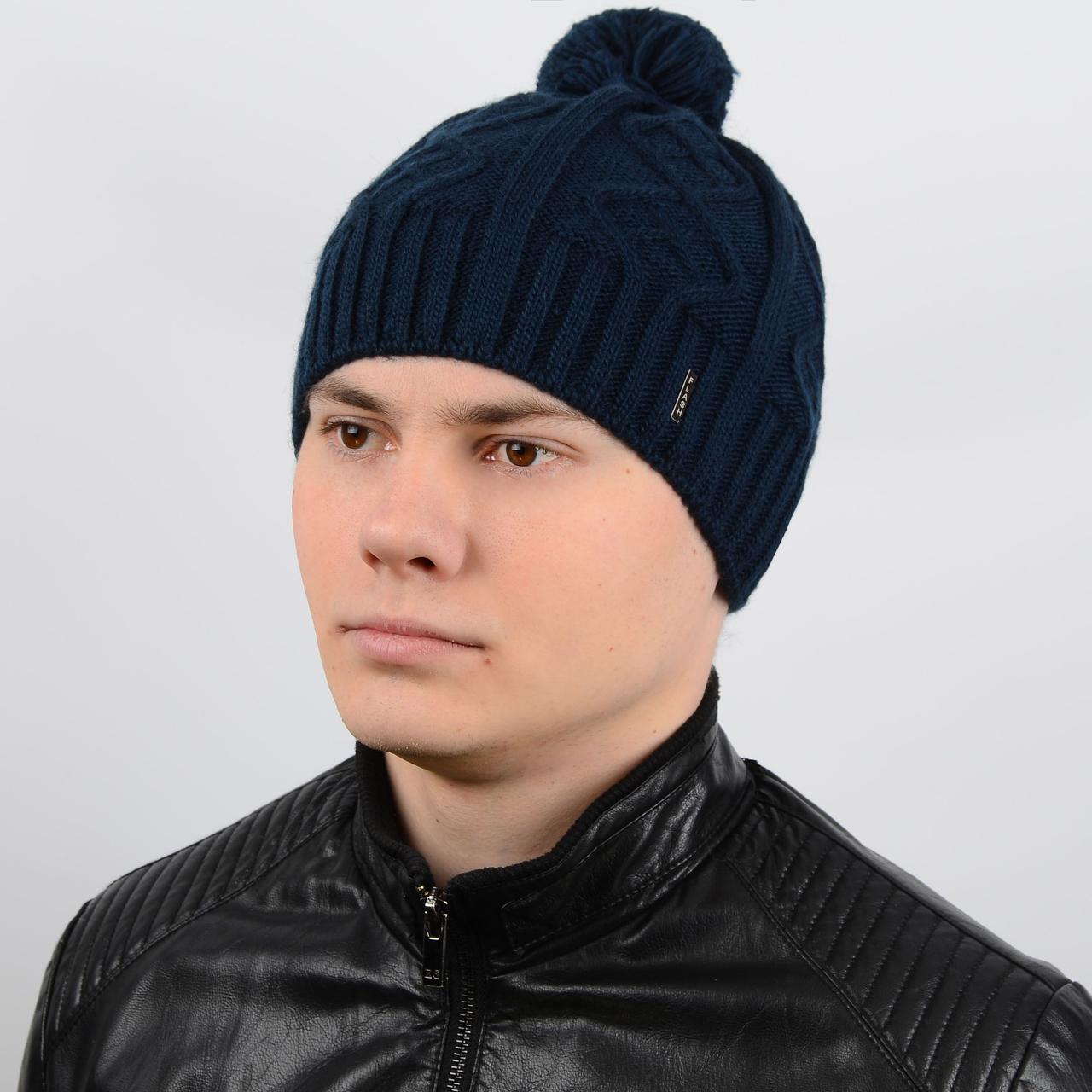стильная мужская вязаная шапка с ниточным помпоном на флисе Flash