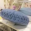 """Декоративная подушка """"Буфы"""" d=50 круглая голубой: съемная наволочка, наполнитель холлофайбер"""