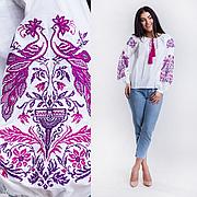 Женская вышитая блузка Жар Птица (белая с сиреневой вышивкой)