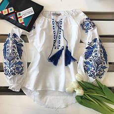 Женская вышитая блузка Жар Птица (белая с синей вышивкой), фото 3
