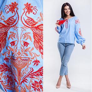 Женская вышитая блузка Жар Птица (голубая с оранжевой вышивкой), фото 2