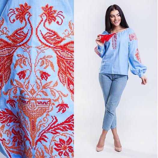 Женская вышитая блузка Жар Птица (голубая с оранжевой вышивкой)