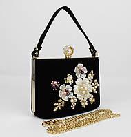 Велюрова сумочка клатч Rose Heart 1661-4 чорний, фото 1