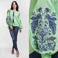 Женская вышитая блузка Жар Птица (салатовая с синей вышивкой) a663dab4b43ff