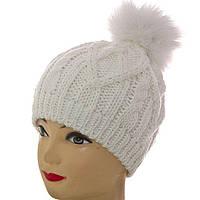 Вязаная тёплая женская шапка с натуральным меховым помпоном SH15044 белый 2cfac4ca60357