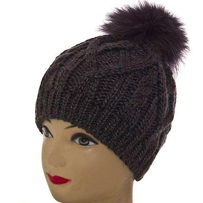 3962291c092b Вязаная тёплая женская шапка с натуральным меховым помпоном SH15044  темно-серый