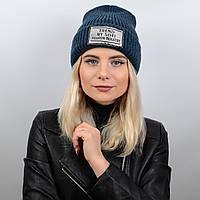 Молодёжная вязаная шапка с отворотом и нашивкой Sofi S17058 джинс ffbbea310c437