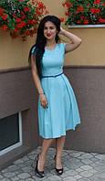 Легкое платье миди с пояском в комплекте, фото 1