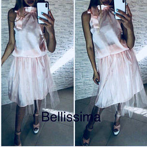 Костюм из шелка топ с бантом и юбка с фатином , фото 2