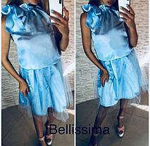 Костюм из шелка топ с бантом и юбка с фатином , фото 3