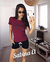 Костюм летний короткие шорты и футболка с надписью, фото 2