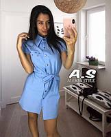 Платье рубашка летнее из льна на кнопках с люверсами 7b9dead805596