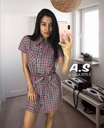 Платье рубашка летнее из хлопка на кнопках в клетку, фото 2