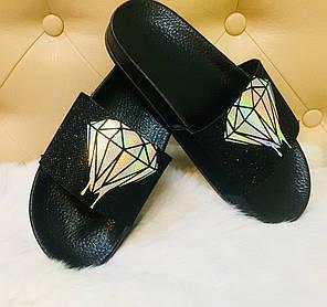 Шлепки женские черные с кристалом, фото 2