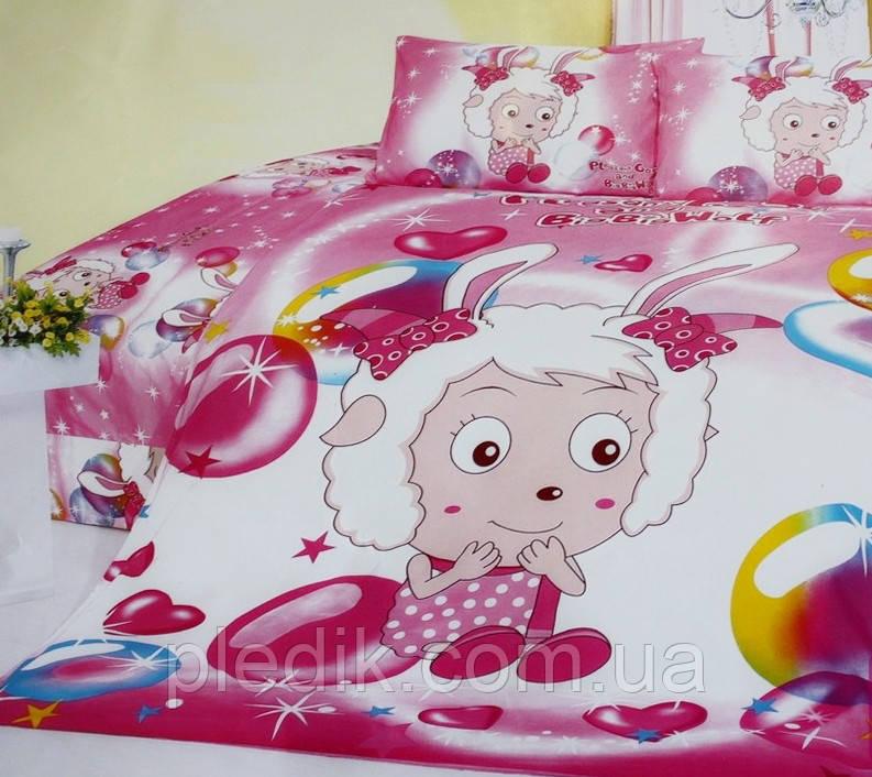 Детское постельное белье 160х210 Сатин малиновый