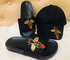 Шлепанцы женские с GG пчелой, фото 3