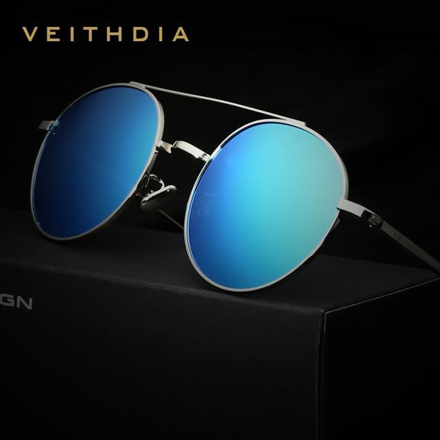 Очки солнцезащитные поляризованные унисекс VEITHDIA3617. Оправа серебро. Синие линзы