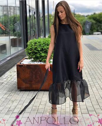 Платье черное свободное из софта снизу органза , фото 2