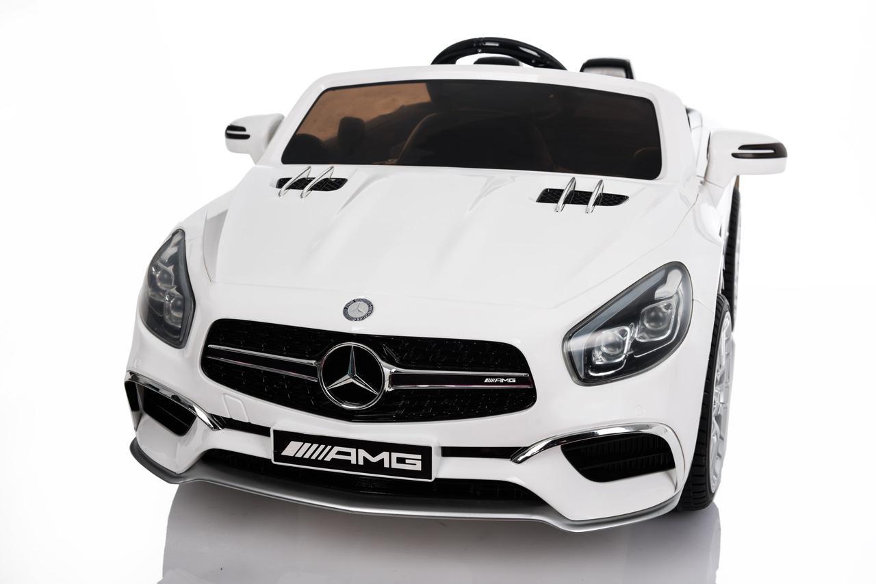 Детский электромобиль Mercedes SL65 белый c Планшетом или Без+ резиновые EVA колеса + Кожа сидение