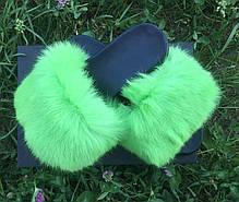 Женские летние меховые тапочки , фото 3