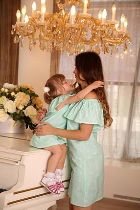 Мятный наряд с рюшей для мамы и дочки, фото 2