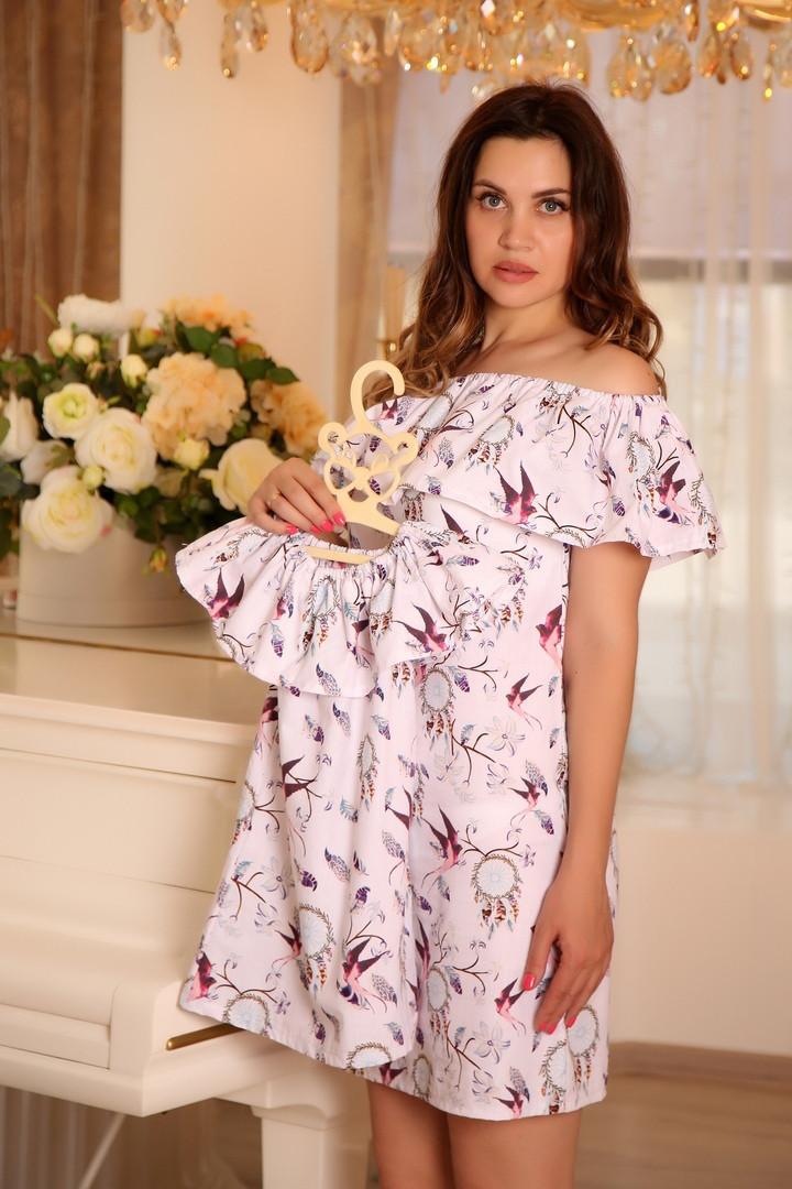 Набор одинаковый платьев с летним принтом