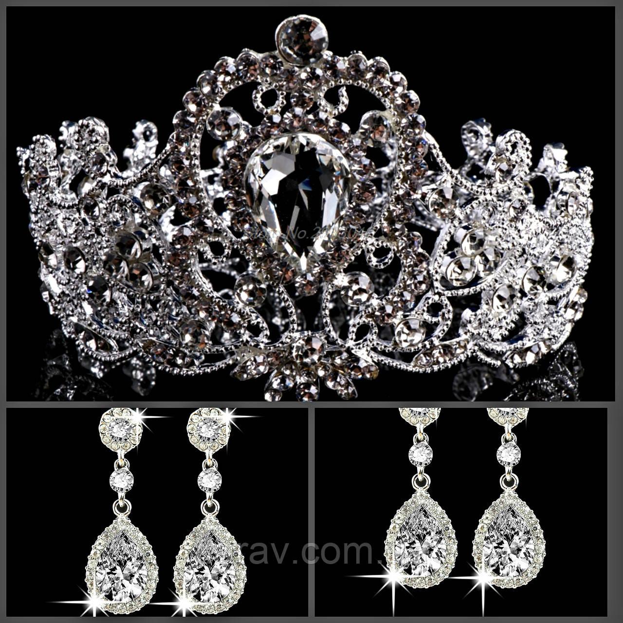Корона и серьги набор БРАУНИ круглая корона на голову