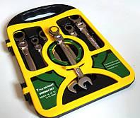 Набор ключей рожково-накидных с трещоткой и шарниром, 7 шт