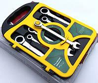 Набор ключей рожково-накидных с трещоткой, 7 шт. Гаечные ключи